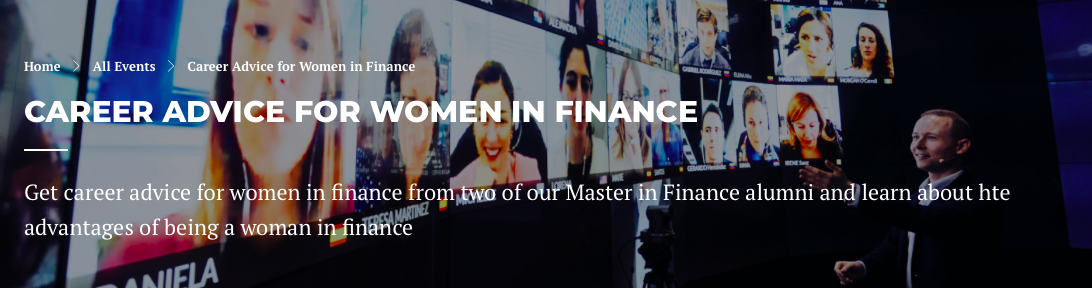 Career Advice for Women in Finance